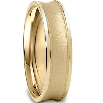 14K geel goud 6mm, geborsteld Mens Wedding Band