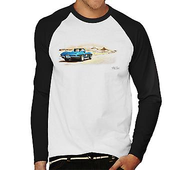 Chevrolet Corvette Stingray Convertible Desert Art White Men's Baseball Long Sleeved T-Shirt