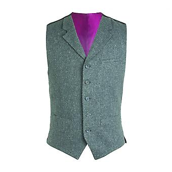 Gibson London Gibson London Gunmetal Grey Tweed Waistcoat