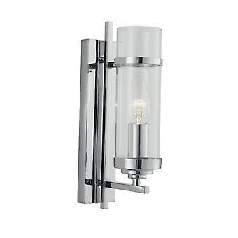 Milo Chrome 1 Light Wall Bracket -clear Glass Cylinder Shade