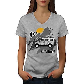 Abenteuer Zeit Frauen GreyV-Neck T-shirt   Wellcoda