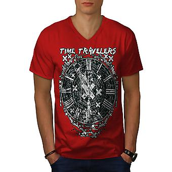 Time Travel Clock Men RedV-Neck T-shirt   Wellcoda