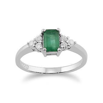 Anillo de 9ct oro blanco 0,53 ct diamante y la esmeralda Natural piedra sola