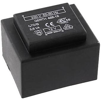 PCB mount transformer 1 x 230 V 2 x 9 V AC 5.60 VA 311 mA PTB421802 Gerth