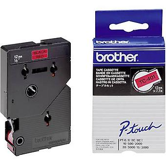 Labelling tape Brother TC-401 Tape colour: Red Font colour: Black 12 mm 7.7 m