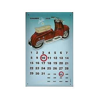 Zundapp Bella 1955 Embossed Metal Everlasting Calendar 300Mm X 200Mm