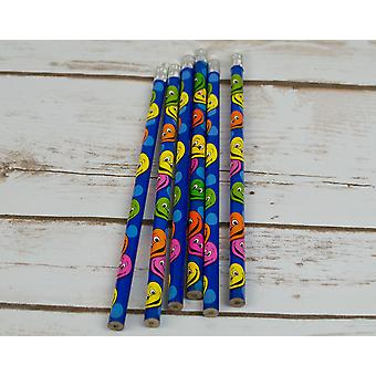 6 Smiley Face Pencils | Birthday Loot Bag Filler Favours