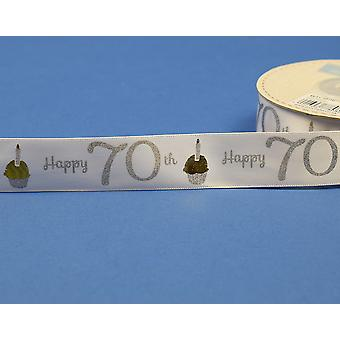 25mm White Happy 70th Birthday Printed Ribbon - 20m   Ribbons & Bows for Crafts