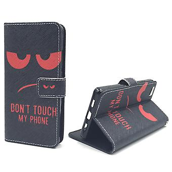 Dont touch my phone mobile case Huawei P8 Lite tank protection glass flap envelope Wallet case