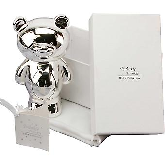 Twinkle Twinkle Silver Plated Teddy Bear Money Box