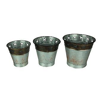 Cervi di metallo rustico ritagli primitivo secchio Set di 3