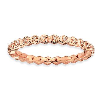 Sterlingsilber polierte Zinke gemustert stapelbar Ausdrücke Diamant rosa vergoldet Ring - Ringgröße festlegen: 5 bis 10