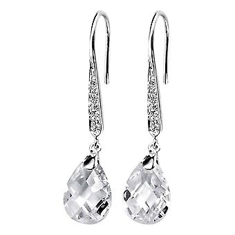 Elements Silver Teardrop Hook Drop Earrings - Silver/Clear