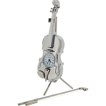 Gift Time Products Violin Miniature Clock - Silver