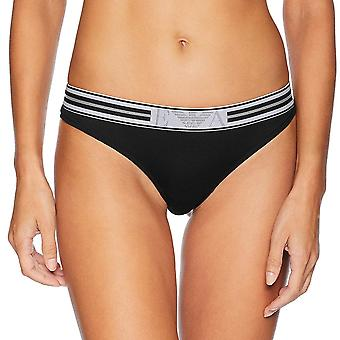Emporio Armani Women Visibility Pop Lines Stretch Cotton Thong, Black, X-Small