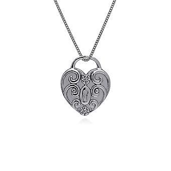 Gemondo Sterling Silver Swirl Heart Lock Charm Pendant on 45cm Chain