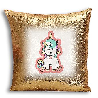 i-Tronixs - Unicorn Printed Design Gold Sequin Cushion / Pillow Cover for Home Decor - 19