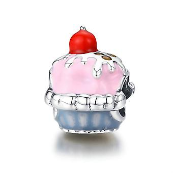 Cupcake rosa charm in argento Sterling