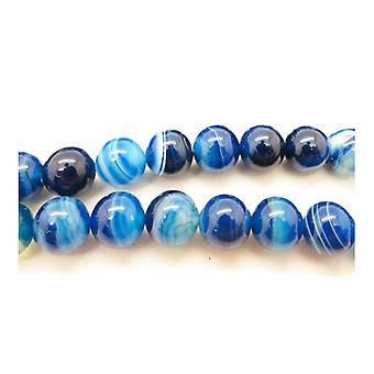 Packet 6 x Blue Banded Agate 8mm Plain Round Beads VP1465