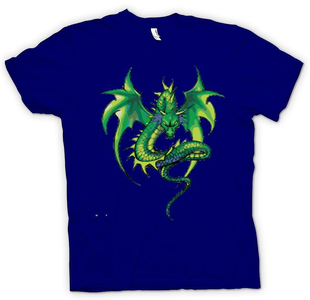 Mens t-skjorte-Green Dragon tegneserie Design