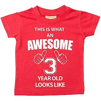 Il s'agit de ce que An Awesome 3 année vieux ressemble comme Red Tshirt
