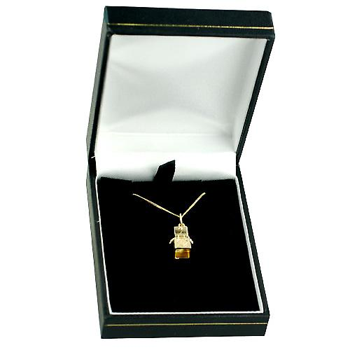 9ct Gold 14x10mm Jack in the Box with a curb Chain 16 inches Only Suitable for Children