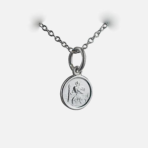 Silver 8mm round St Christopher Pendant with a rolo chain