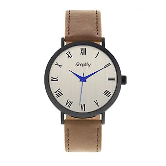 Simplify The 2900 Leather-Band Watch - Black/Brown