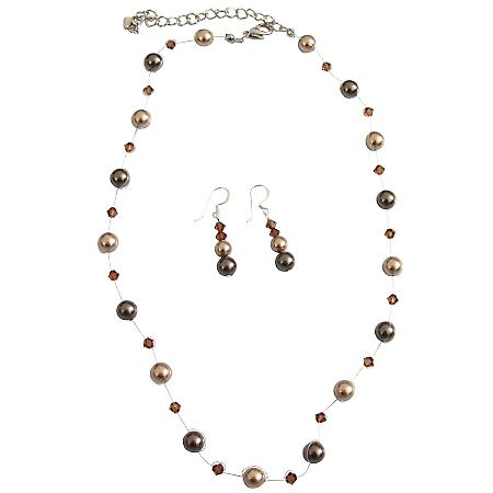 Prom Flower Girl Bronze Brown Pearls & Smoked Topaz Crystals Jewelry