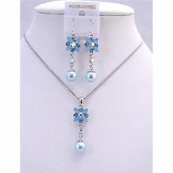 Aquamarine Blue Enamel Flower And Rhinestones w/ Cute Flower Pearl Dangling Necklace Set Beautiful Jewelry