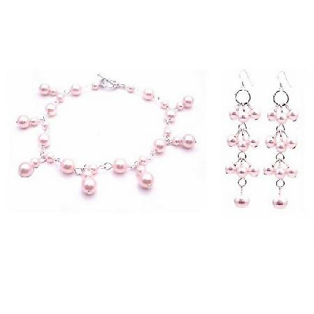 Rosaline Pearls Jewelry Pink Pearls Bracelet & Earrings Set