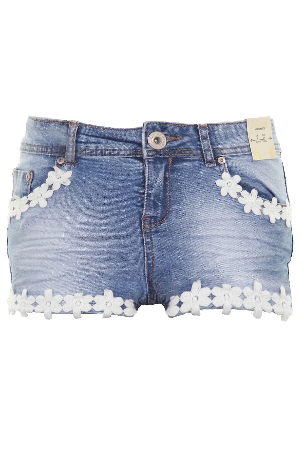 Ladies Floral Flower Crochet Trim Acid Wash Denim Low Rise Hot Pants Shorts