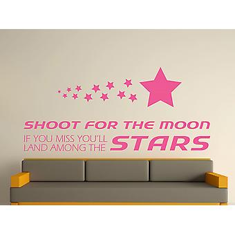 Shoot For The Moon Wall Art Sticker - Pink