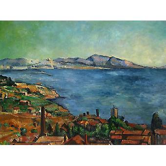 75x100cm, Cezanne landskap, oljemålning på duk efter Cezanne