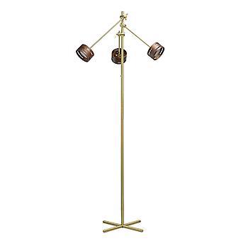 Glasberg - LED golvlampa justerbar tre ljus i Satin guld med trä nyanser 725040803
