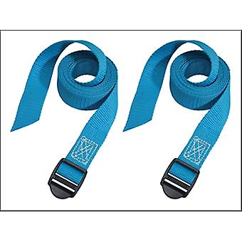 Master Lock Lashing Straps With Plastic Buckle 1.2m (Pack Of 2) Coloured