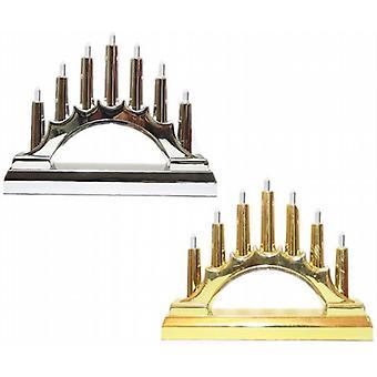 Batterie-Op 7-Led-Lampe Kerze Brücke 16 X 12 cm Gold/Silber - Set von 2 - (XA5396)