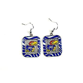 Kansas Jayhawks NCAA Zebra Style Dangle Earrings