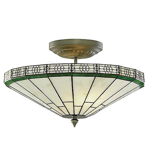 Searchlight 4417-17 New York Art Deco Style Tiffany 2 Light Semi Flush Light