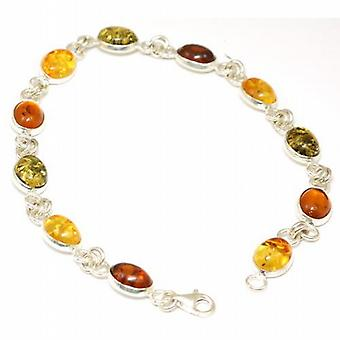 The Olivia Collection Sterling Silver Tri-Color Amber Bracelet