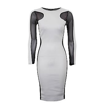 Ladies pianura contrasto maglia inserto Dress pianura dimagrante effetto Womens Dress