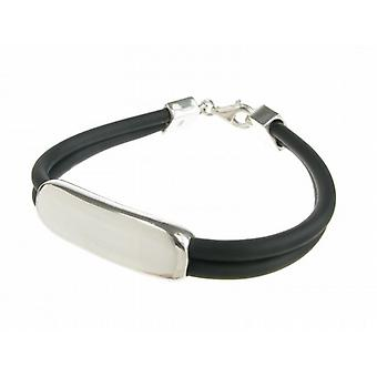 Cavendish French Sterling Silver and Rubber ID Bracelet