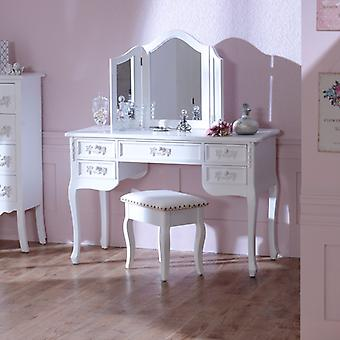 Antique White Dressing Table Desk with Triple Mirror and Stool - Pays Blanc Range
