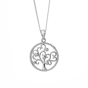 Eternity Sterling Silver Cubic Zirconia Set Tree Of Life Pendant And Chain