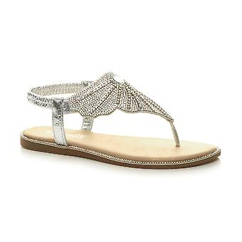 Ajvani Womens low heel diamante toe post t-bar elastic slingback sandals