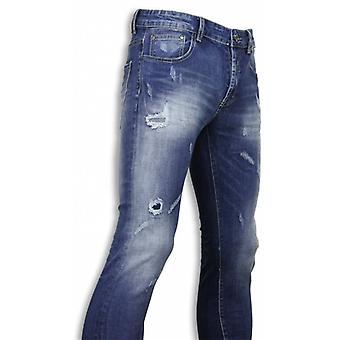 Basic Jeans - Blue Damaged Regular Fit - Blauw