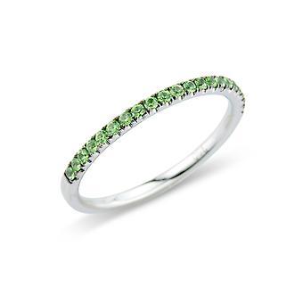 Jewelco London 18ct White Gold Green Garnet Claw-set Eternity Wedding Ring - 1.7mm