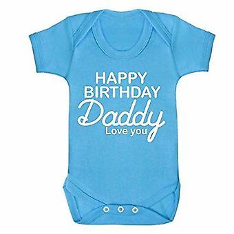 Happy birthday daddy blue short sleeve babygrow