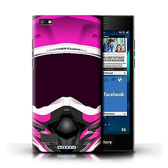 STUFF4 Case/Cover for Blackberry Leap/Motocross/Pink/Motorcycle Helmet