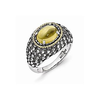 925 Sterling Silver With 14k Antiqued Citrine Ring - Ring Size: 6 to 8